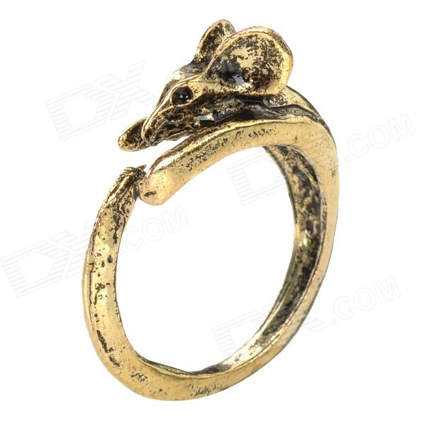 Retro Mouse Style Acrylic Open Ring for Women - Antique Brass