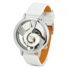 Fashion Musical Note Dial PU Band Quartz Analog Wrist Watch for Women - White