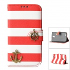 Strip Pattern Protective PU Leather Case w/ Stand / Strap for Samsung i9500 - White + Red