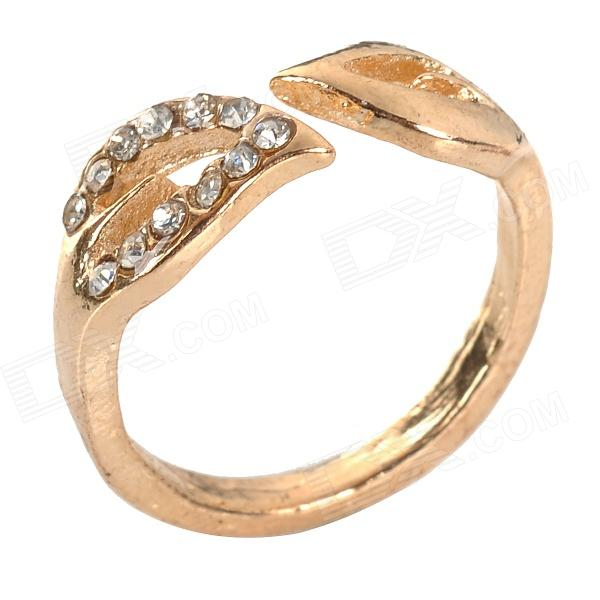 Leaf Style Zinc Alloy Ring + Rhinestones for Women - Golden