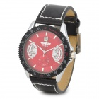 Fashion PU Band Self-Winding Mechanical Analog Wrist Watch w/ Calendar for Men - Black + Red