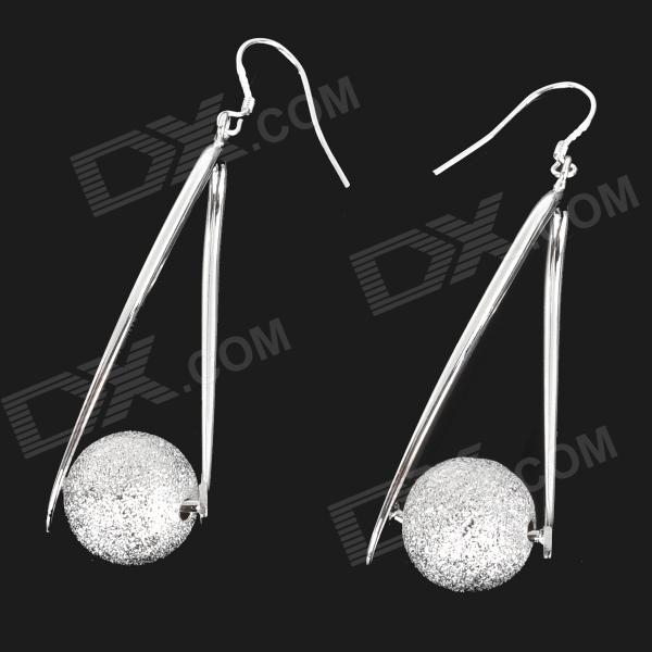 Fashion Zinc Alloy + Beads Dangle Earrings for Women - Silver (Pair) women s fashion tassel style zinc alloy earrings golden silver pair