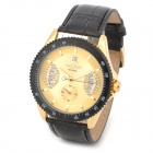 Fashion PU Band Self-Winding Mechanical Analog Wrist Watch w/ Calendar for Men - Black + Golden