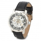Men's Sports Skeleton PU Leather Band Self-Winding Mechanical Analog Wrist Watch - Black + Silver
