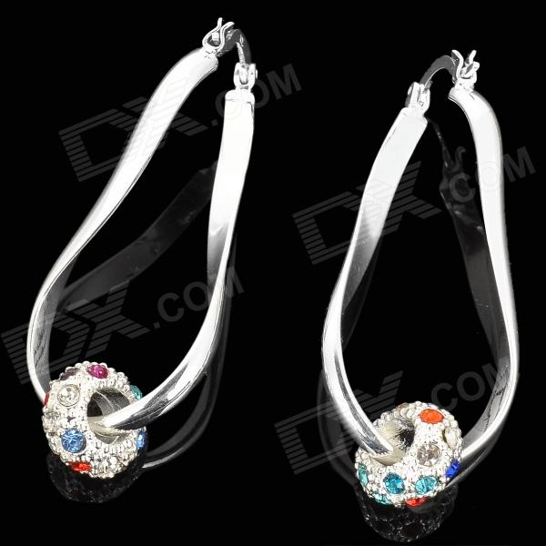 Stylish Zinc Alloy + Colorful Rhinestones Earrings for Women - Silver (Pair) rigant women s stylish rhinestones studded dangle earrings silver 2 pcs