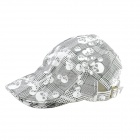 YUSHAN Decorative Pattern Cotton Cricket Cap - White + Black