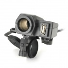Water Resistant Motorcycle ABS Cigarette Lighter / USB Charger w/ Holder for Cellphones - Black