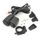 Waterproof Motorcycle USB Charger w/ Holder for Cellphones - Black