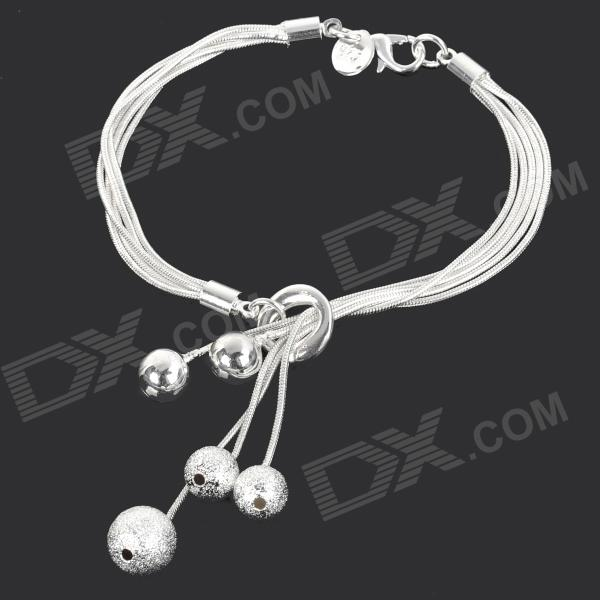 Matte Zinc Alloy Bracelet w/ Beads for Women - Silver
