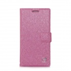 Flower Show Silk Print Pattern Protective PU + PC Case for HUAWEI P6 - Deep Pink