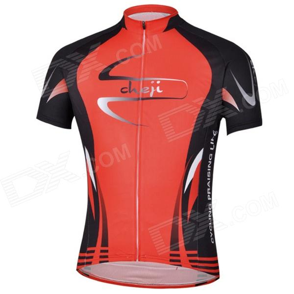 CHEJI Outdoor Cycling Polyester Short Sleeves Jersey for Men - Black + Red (XXL) arsuxeo ar608s quick drying cycling polyester jersey for men fluorescent green black l