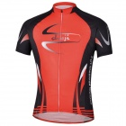 CHEJI Outdoor Cycling Polyester Short Sleeves Jersey for Men - Black + Red (XXL)