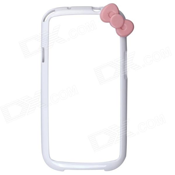 Protective Bumper Frame Case with Bowknot for Samsung Galaxy S3 i9300 - White + Pink