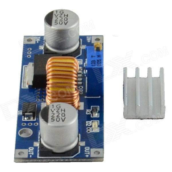 DC-DC Adjustable Step-down Heatsink Power Module - Blue (5A) - DXDIY Parts &amp; Components<br>1. Input voltage range: 4~38V DC(Note: input voltage not exceeding 38V); 2. Output voltage range: 1.25~36VDC adjustable; 3. Output current: 0~5A; 4. Output power: 75W; 5. High efficiency up to 96%; 6. Built-in thermal shutdown function; 7. Built-in current limit function; 8. Built-in output short protection function; 9. Input reverse polarity protection: None (if required high current diode in series with the input); Installation method: 2 x 3mm screws; mode of connection: Welding V-IN input V-OUT output<br>