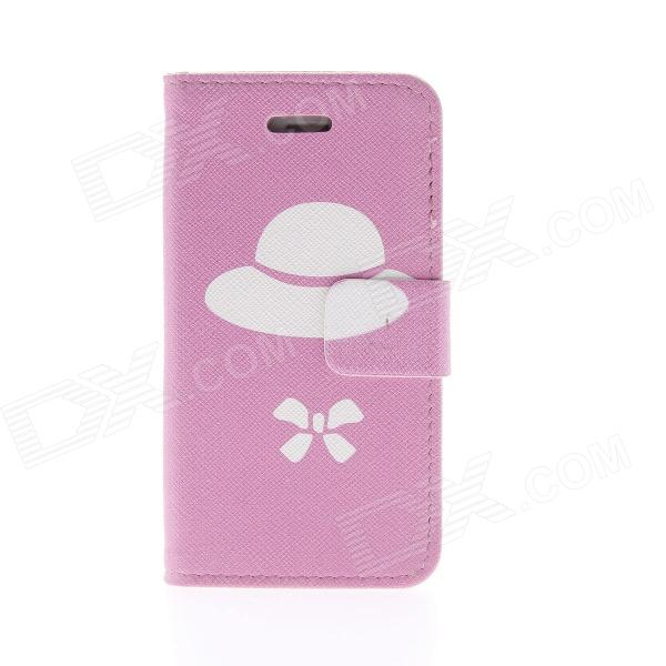 Kinston Strawberry Bowknot Pattern Protective PU Leather Case Cover Stand for IPHONE 4 / 4S - Pink cartoon pattern matte protective abs back case for iphone 4 4s deep pink