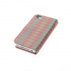 Kinston Diamond Pattern Protective PU Leather Case Cover Stand for IPHONE 4 / 4S - Red + Orange