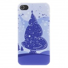 Kinston Purple Christmas Tree Pattern Protective Matte PC Hard Back Case for IPHONE 4 / 4S - White