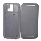 "External ""3800mAh"" Li-polymer Battery Power Charger w/ PU Leather Cover for HTC One M8 - Black"