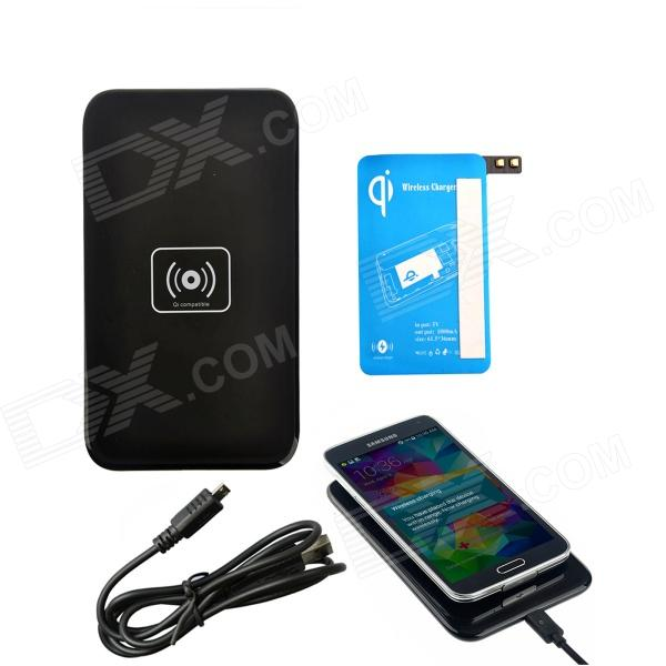 X5 Qi Standard Mobile Wireless Power Charger + S5 Wireless Charging Receiver - Black + Blue k7 universal qi standard mobile wireless power charger black