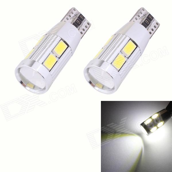 MZ T10 5W 450lm 10-SMD 5630 LED Error Free Canbus White Light Car Clearance Lamps (DC 12V / 2 PCS) merdia t10 5w 126lm 9 x smd 5050 led error free canbus red light car clearance lamp 12v 2pcs