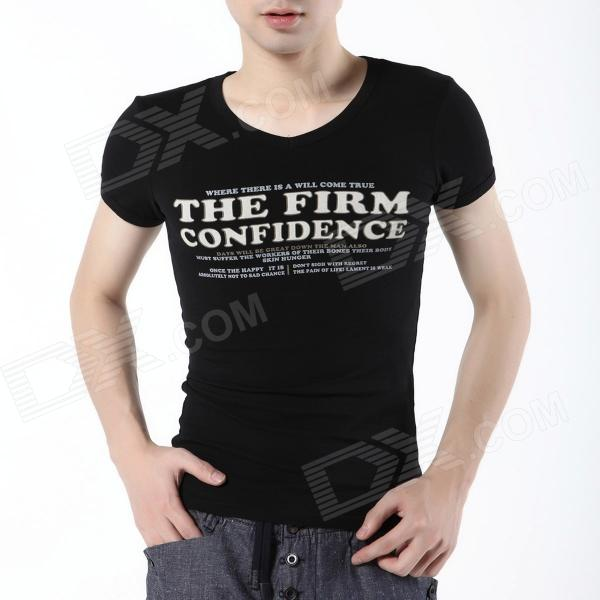 FENL P110-3 Men's Fashionable V-Neck Cotton Short Sleeve T-shirt - Black (Size XL)