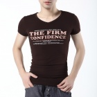FENL P110-1 Men's Fashionable V-Neck Cotton Short Sleeve T-shirt - Coffee (Size XL)