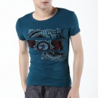 FENL K920-1 Men's Fashionable Round Neck Cotton Short Sleeves T-shirt - Lake Blue (Size M)