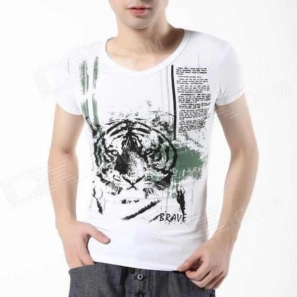 FENL T150-1 Men's Short Sleeves V-Neck Tiger Head Pattern Cotton T-shirt -White (Size L)
