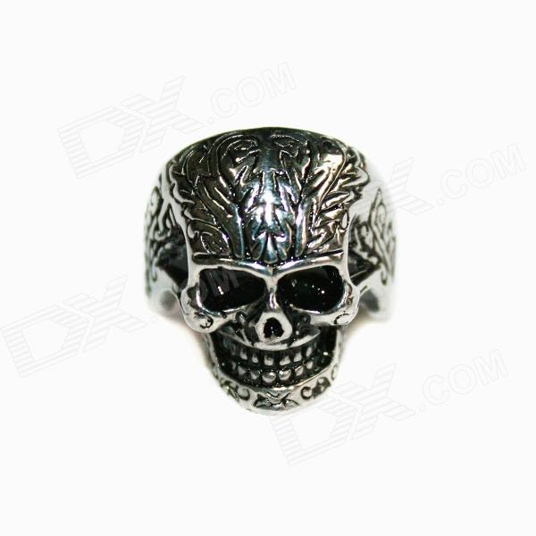 Skull Style Stainless Steel Finger Ring - Silver Black stainless steel cuticle removal shovel tool silver