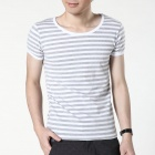 FENL 550-5 Men's Slim Round Neck Short Sleeves T-Shirt - Grey + White (Size L)