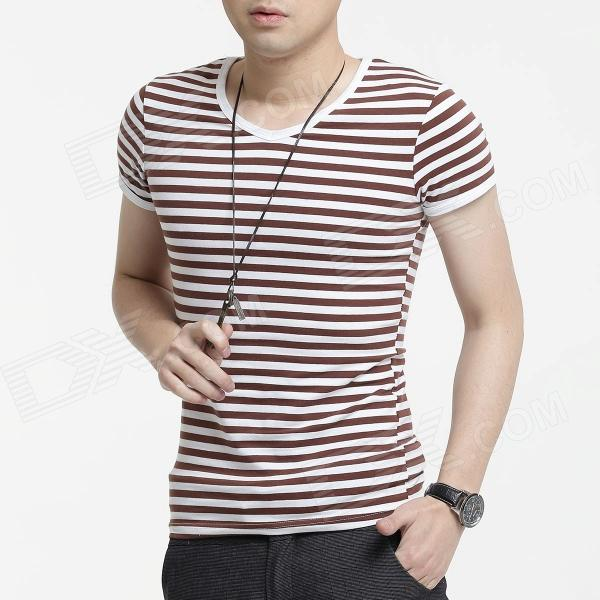 FENL 590 Men's Fashionable Slim V-Neck Short Sleeve Cotton T-Shirt - Coffee + White (Size S)