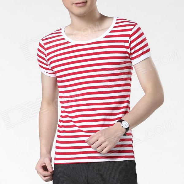 FENL Men's Slim Round Neck Short Sleeve T-Shirt - Red + White (Size M)