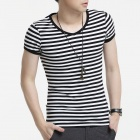 FENL 590 Men's Slim V-Neck Short Sleeve Cotton T-Shirt Tee - Black + White (Size XL)