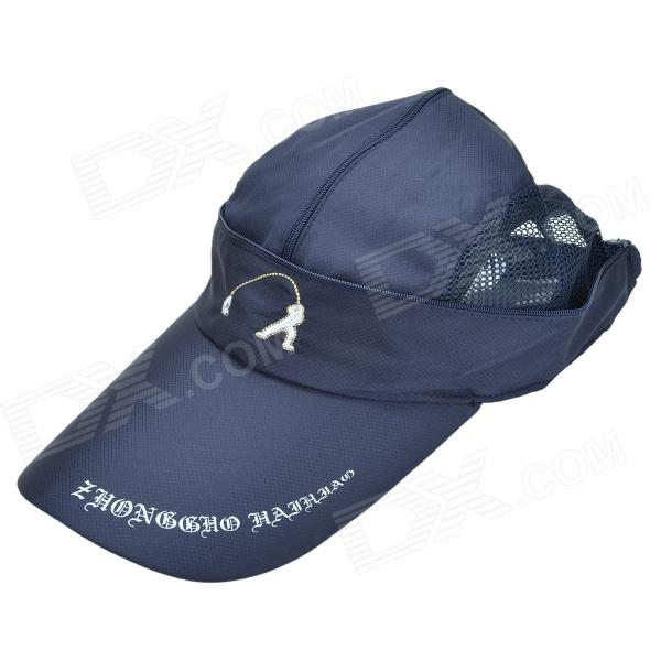 Dual-Purpose Nylon Fisherman Cap / Bucket Hat - Black Blue universal nylon cell phone holster blue black size l
