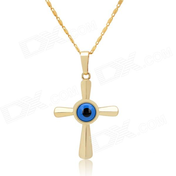 KCCHSTAR The Eye of God High Quality 316 Titanium Steel Necklaces - Golden + Blue kcchstar the eye of god high quality 316 titanium steel necklaces golden blue