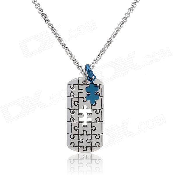 KCCHSTAR TS3 Razor Blades Shape 316 Titanium Steel Necklaces - Silver + Blue kcchstar the eye of god high quality 316 titanium steel necklaces golden blue