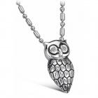 GX645 Owl Style 316L Stainless Steel Rhinestone Inlaid Necklace - Silvery Grey