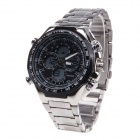 Sanda Men's Cool Stainless Steel Band Dual Movement Digital + Quartz Sport Watch - Silver + Black