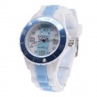 ICE 086 Women's Round Dial Silicone Analog Quartz Watch - Light Blue + White