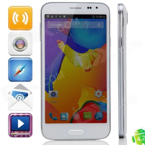 Haipai S5 MTK6582 Quad-core Android 4.4.2 WCDMA Bar Phone w/ 5.0 IPS QHD, FM, Wi-Fi and GPS - White mijue m6 mtk6582 quad core android 4 2 2 wcdma bar phone w 4 5 qhd 4gb rom wi fi gps white
