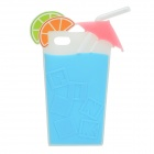 Summer Lemon Drink Cup Style 3D Protective Silicone Back Case for IPHONE 5 / 5S - Light Blue