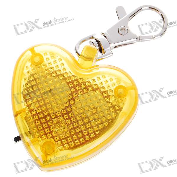 Cute Heart Flashing LED Pet Collar Pendant Light - Yellow (2*AG13)