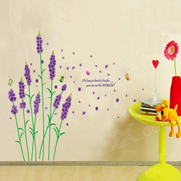 Purple Lavender Pattern DIY Adhesive Removable Windows Wall Decal