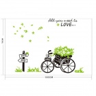 Love Encounter Green Bike Pattern PVC Wall Art Stickers Wallpapers Decal