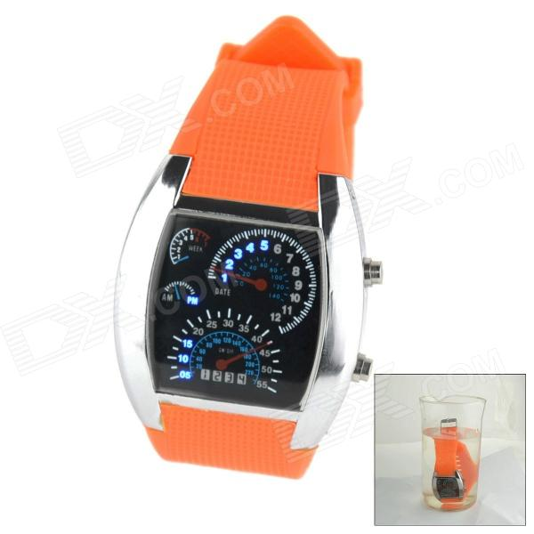 Waterproof Sports Aviation Blue LED Speedometer Digital Quartz Wrist Watch for Men - Orange