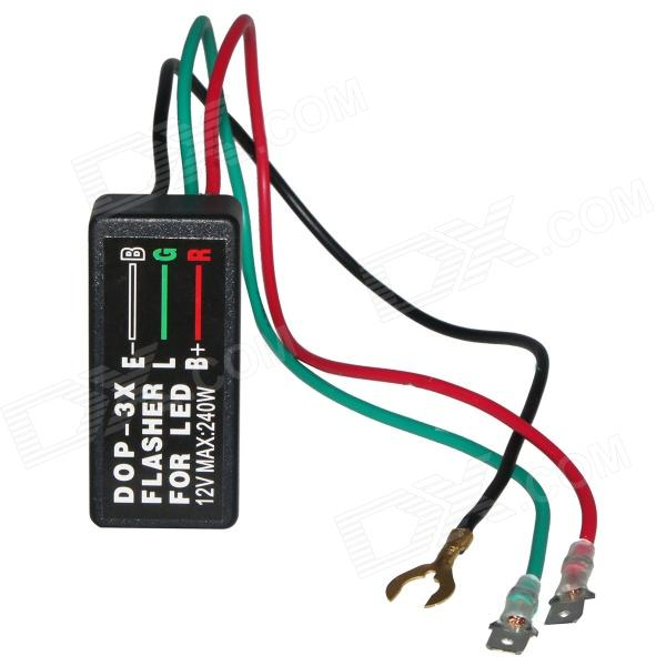 DOP 3X Car / Motorcycle Flasher Relay - Black (12V) 2pcs cf18 kt led flasher 8 pin adjustable relay module fix auto car signal error flashing blinker 81980 50030 06650 4650 150w