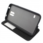 Protective Flip-Open PU + TPU Case w/ Stand / Display Window for Samsung Galaxy S5 - Black
