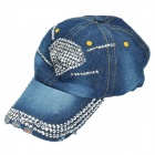 Fashionable Rhinestone Decoration Denim Cricket Cap - Deep Blue