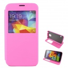 Protective Flip-Open Case w/ Stand / Display Window for Samsung Galaxy S5 - Pink