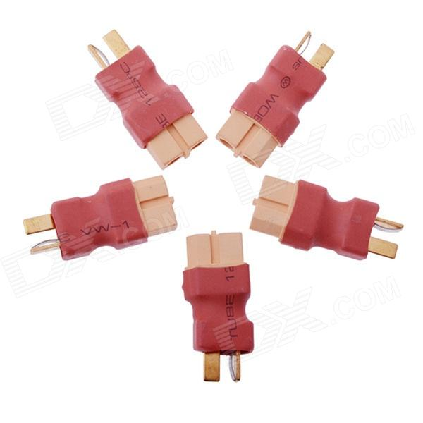 T Plug Male to XT60 Male Connector for RC Li-Po Battery (5 PCS)Other Accessories for R/C Toys<br>Form ColorRed + Yellow + Multi-ColoredModelT Plug Male to XT60 MaleMaterialSiliconeQuantity5 DX.PCM.Model.AttributeModel.UnitCompatible ModelRC Lipo batteryPacking List5 x T plug male to XT60 male connectors<br>